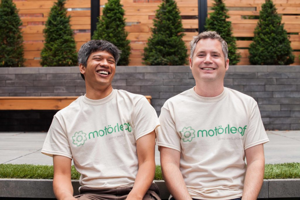 Motorleaf co-founders Ramen Dutta and Alastair Monk have developed technology which allows growers to operate greenhouses remotely. MOTORLEAF/CARL ATIYEH